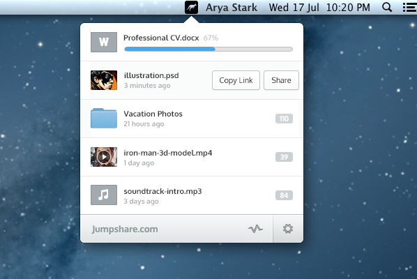 Jumpshare mac menu bar app