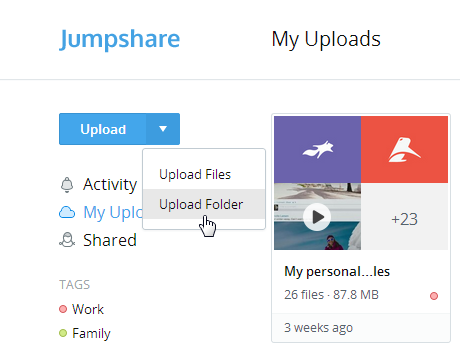 Upload folder Jumpshare