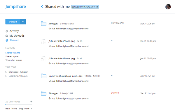 Filter Shared files by email