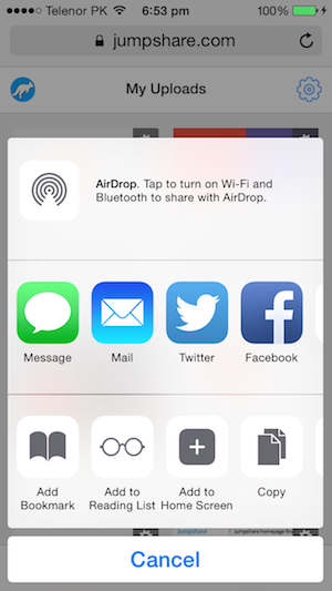 jumpshare add to home screen