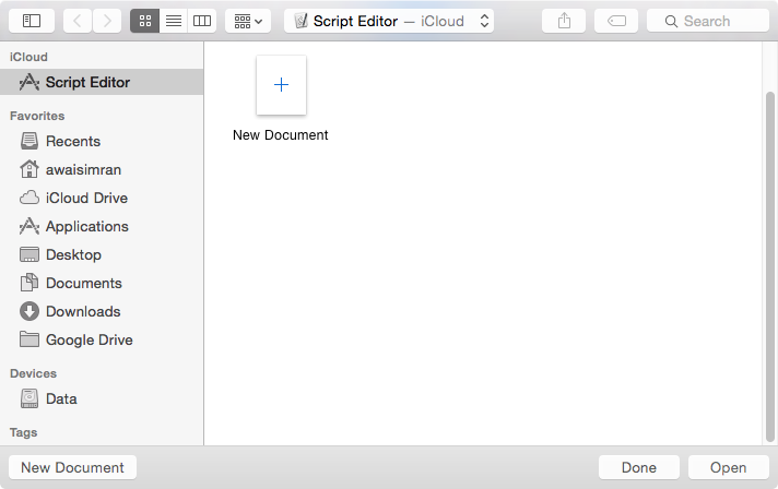 Image shows AppleScript Script Editor launch menu